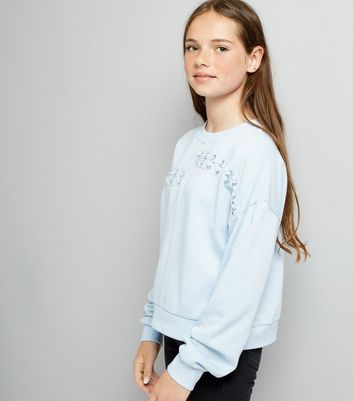 Teens Pale Blue Spliced Lace Up Sweater