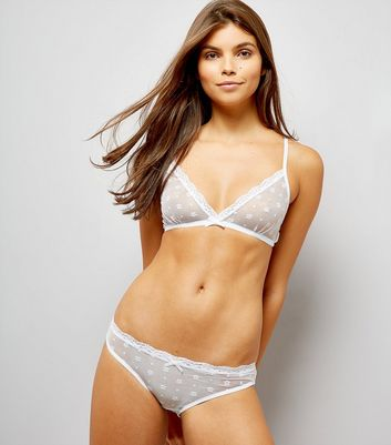 White Floral Lace Bralet and Briefs Set
