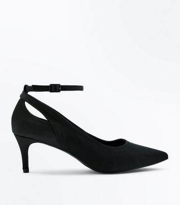 Black Satin Cut Out Kitten Heel Shoes | New Look