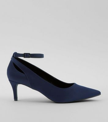 Navy Satin Ankle Strap Kitten Heels