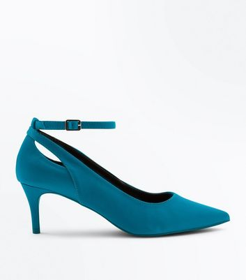 Blue Satin Cut Out Kitten Heel Shoes