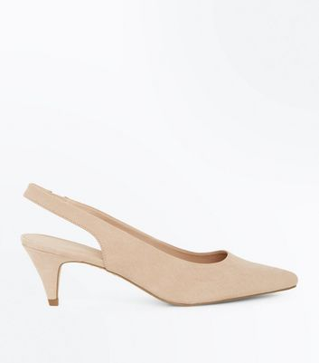 Nude Suedette Pointed Cone Heel Slingbacks