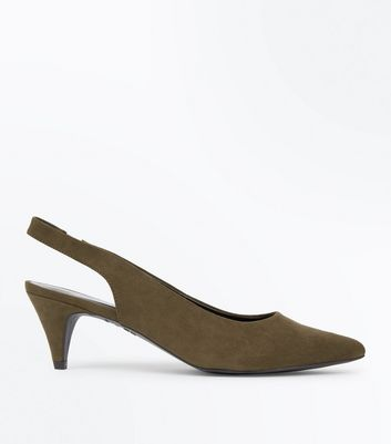 Khaki Suedette Sling Back Cone Heel Courts