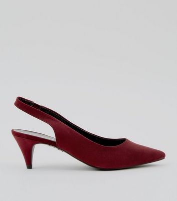 Red Suedette Sling Back Cone Heels