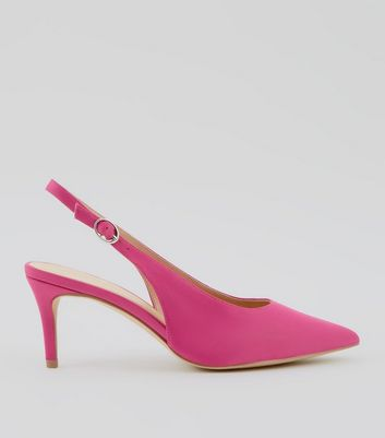 Pink Satin Sling Back Kitten Heels
