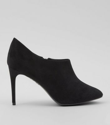 Black Low Cut Suedette Ankle Boots