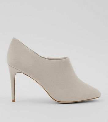 Grey Suedette Low Cut Ankle Boots