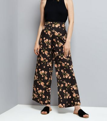 Innocence Black Floral Wide Leg Trousers