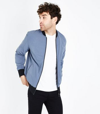 Pale Blue Contrast Trim Bomber Jacket