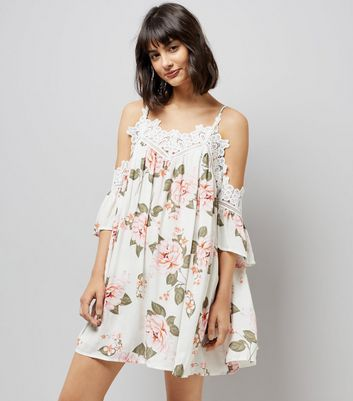 Tall White Floral Print Crochet Trim Dress