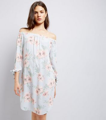 Tall Light Blue Floral Print Bardot Dress