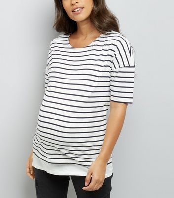 Maternity White Stripe Nursing T-Shirt