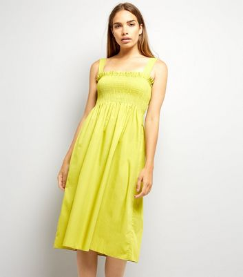 Yellow Poplin Shirred Midi Dress