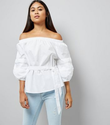 Petite White Balloon Sleeve Bardot Neck Top