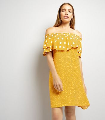 Yellow Contrast Polka Dot Bardot Neck Dress