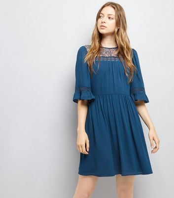 Navy Lace Neck Smock Dress