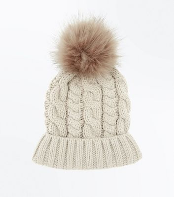 Mink Cable Knit Faux Fur Bobble Beanie