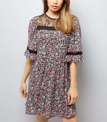Black Floral Print Lace Neck Smock Dress