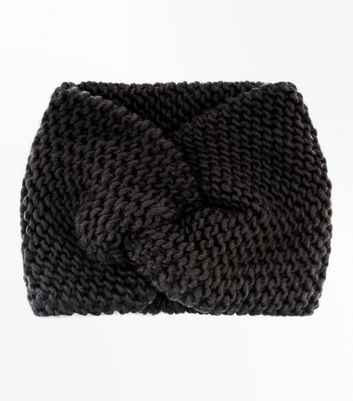 Black Knit Twist Front Headband