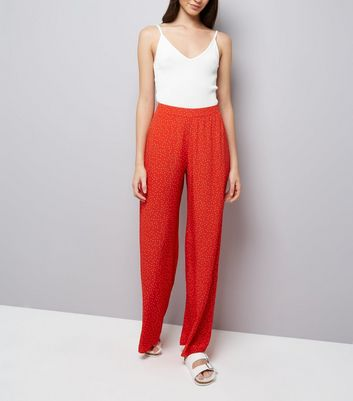 Red Spot Print Wide Leg Trousers