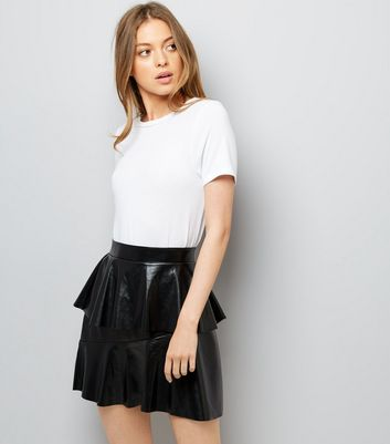 Noisy May Black Leather-Look Frill Trim Skirt