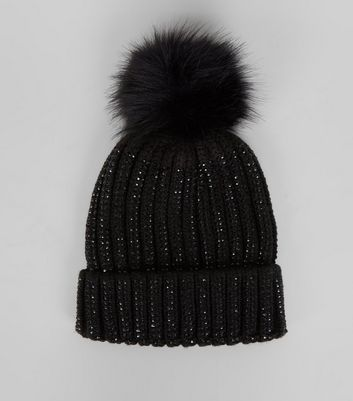 Black Diamante Embellished Bobble Hat