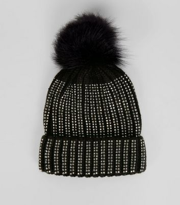 Black Contrast Diamante Embellished Bobble Hat