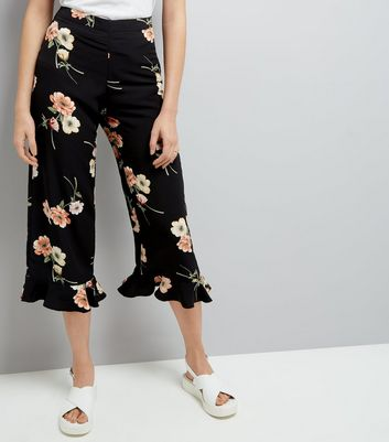 Black Floral Print Frill Hem Cropped Trousers