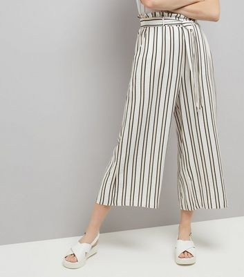 White Stripe Paperbag Cropped Trousers