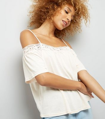 Pale Pink Crochet Trim Cold Shoulder Top