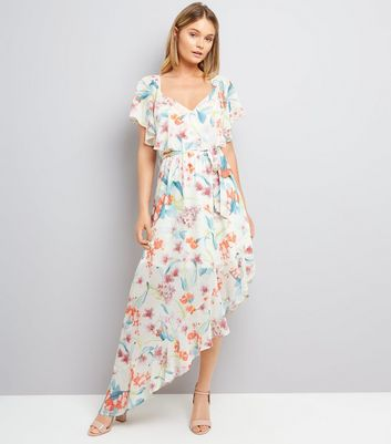 White Floral Print Asymmetric Frill Hem Dress