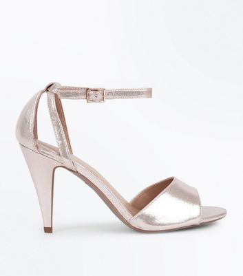 Gold Cut Out Side Cone Heel Sandals