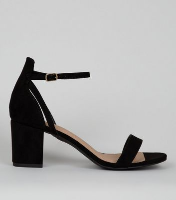 Black Comfort Suedette Low Block Heels