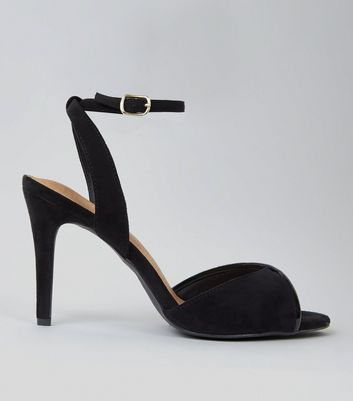 Black Comfort Suedette Twist Strap Heeled Sandals