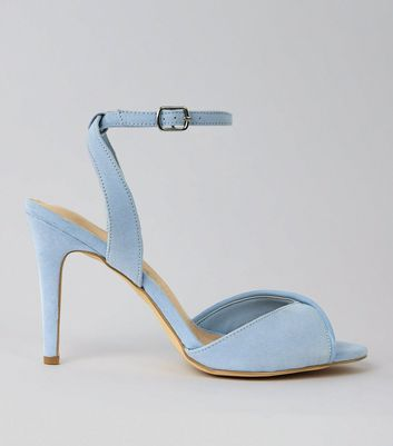 Blue Comfort Suedette Twist Strap Heeled Sandals