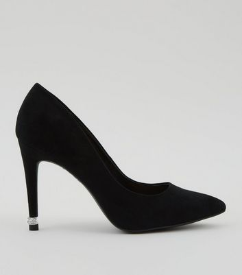 Black Diamante Embellished Pointed Court Shoes