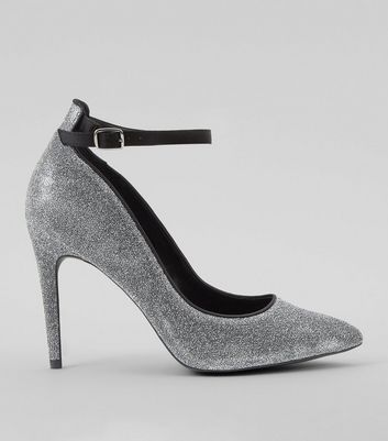 Silver Glitter Pointed Court Heels