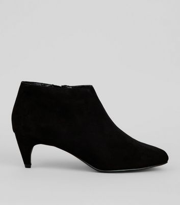 Black Suedette Cone Heeled Boots
