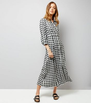 Black Gingham Shirt Maxi Dress