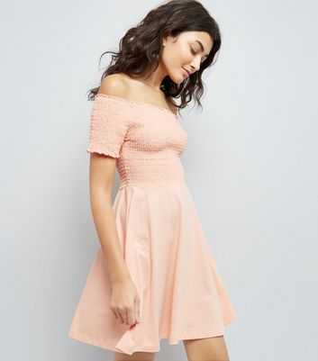 Pink Shirred Bardot Neck Skater Dress