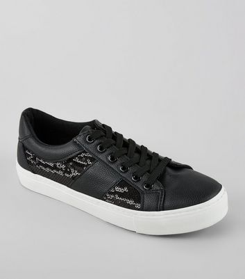 Black Sequin Panel Lace Up Trainers