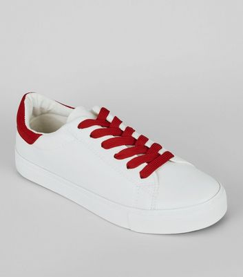 Red Contrast Lace Up Trainers