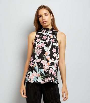 Black Floral Jacquard Tie Neck Vest Top