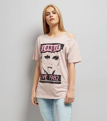 "Rosa Cold-Shoulder-T-Shirt mit ""Blondie""-Aufdruck"