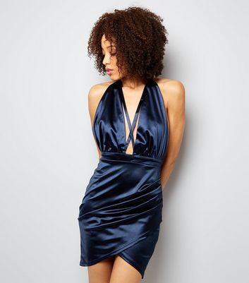AX Paris Navy Satin Halter Neck Wrap Dress