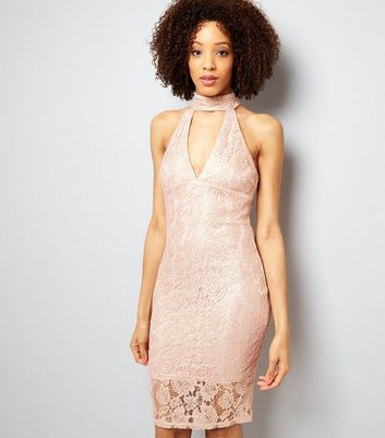 AX Paris Shell Pink Lace Choker Neck Dress