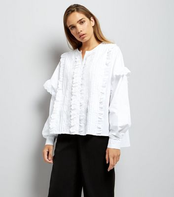 White Pleat Front Lace Trim Blouse