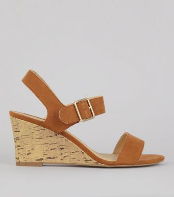 Tan Ankle Strap Cork Wedge Heeled Sandals