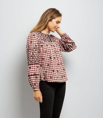 Red Embroidered Gingham Long Sleeve Top
