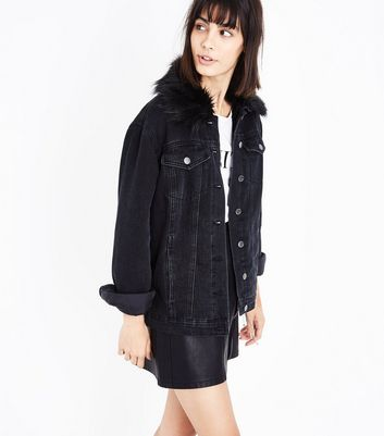 Black Faux Fur Collar Denim Jacket